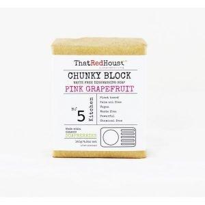 Chunky Block Dishwashing Soap Bar Pink Grapefruit
