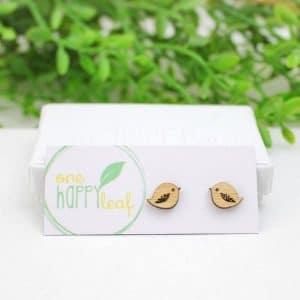 one happy leaf stud earrings